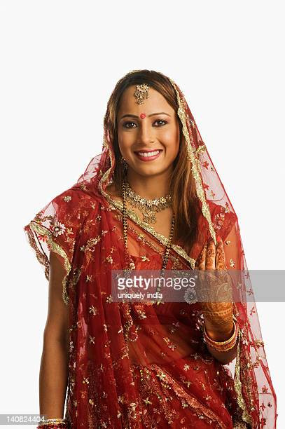 Portrait of a bride in traditional wedding dress