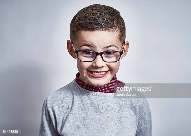 Portrait of a British child pulling a face