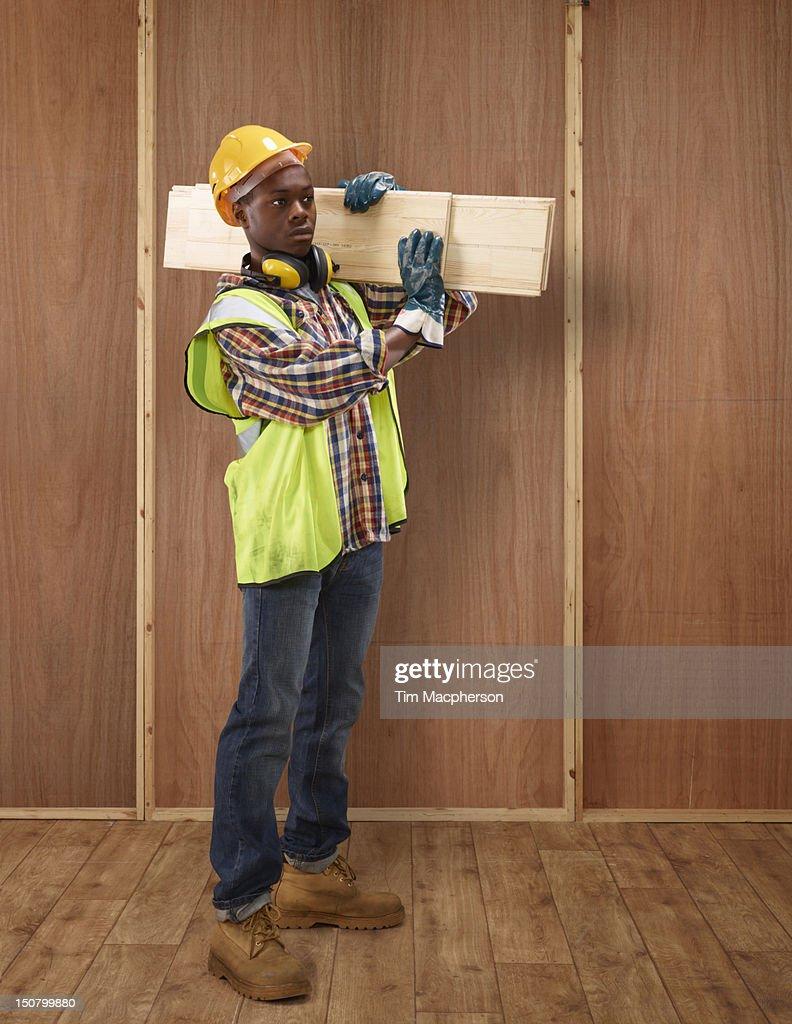 Portrait of a builder : Stock Photo