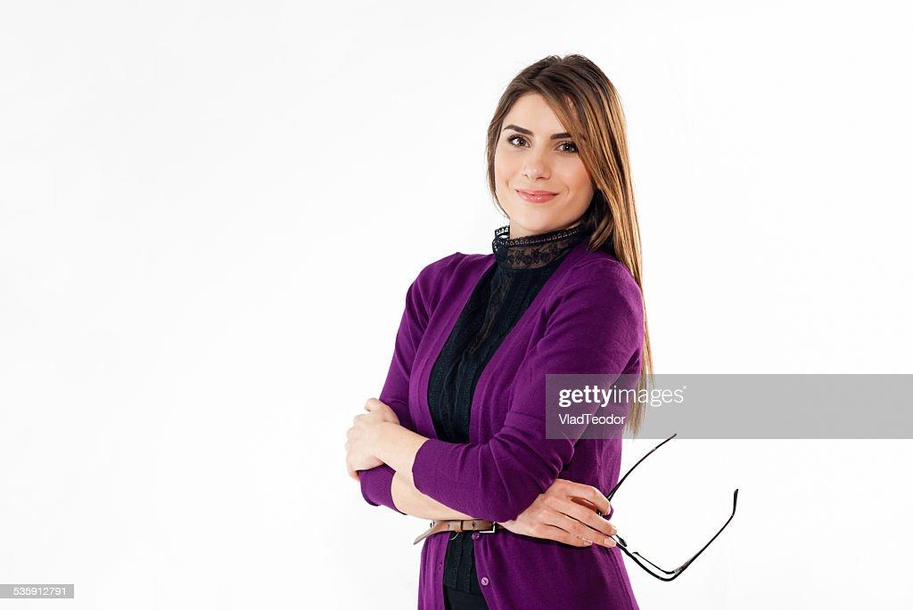 Retrato de uma mulher de negócios sorridente. Fundo branco. : Foto de stock