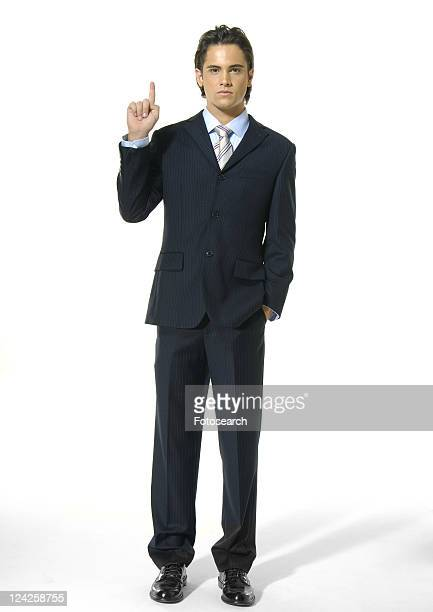 Portrait of a businessman gesturing and looking serious