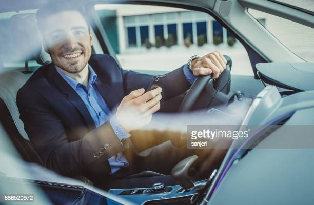 Portrait of a Businessman in the Car