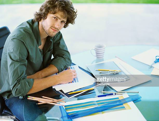 Portrait of a businessman working in an office
