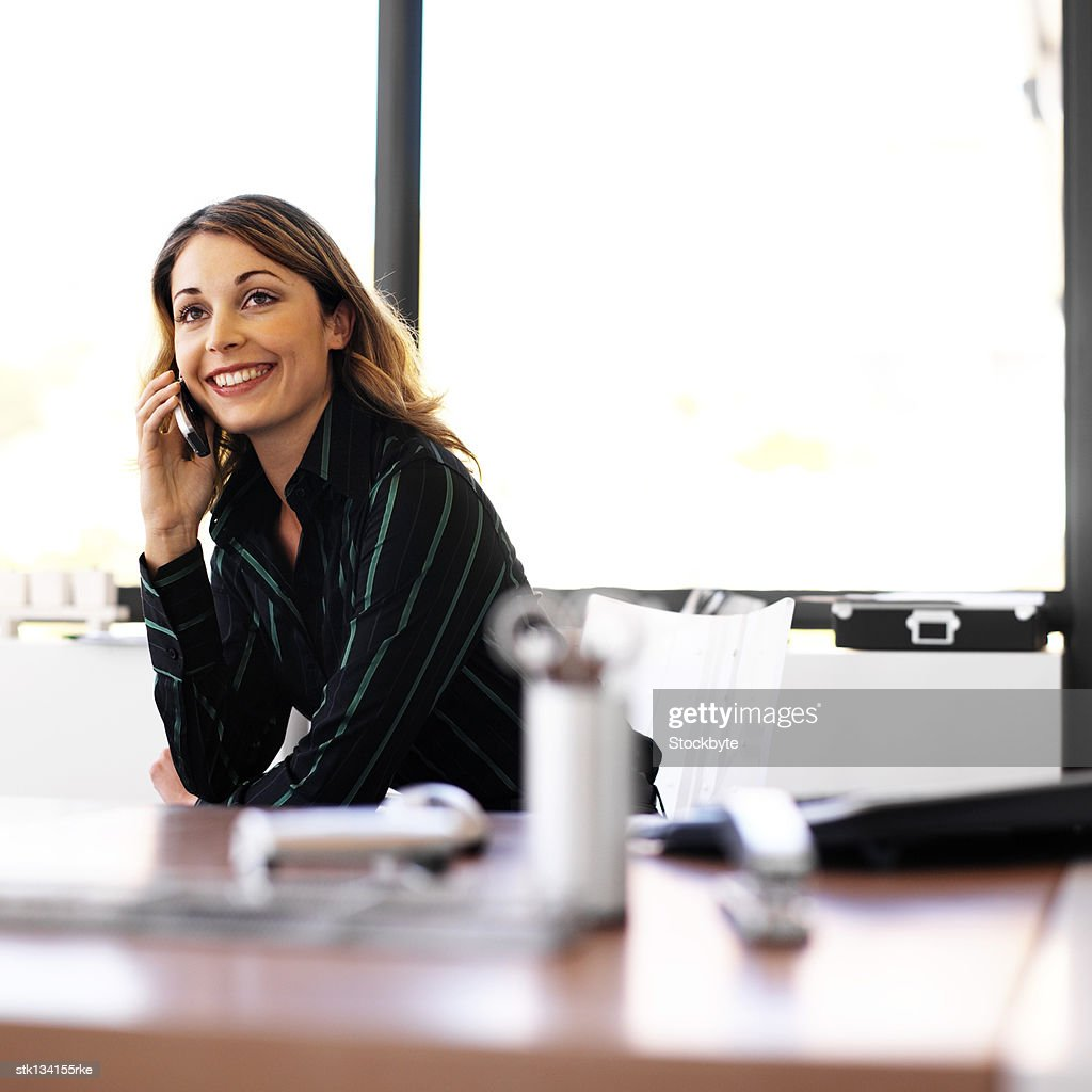 portrait of a businesswoman sitting in the office talking on a mobile phone : Stock Photo