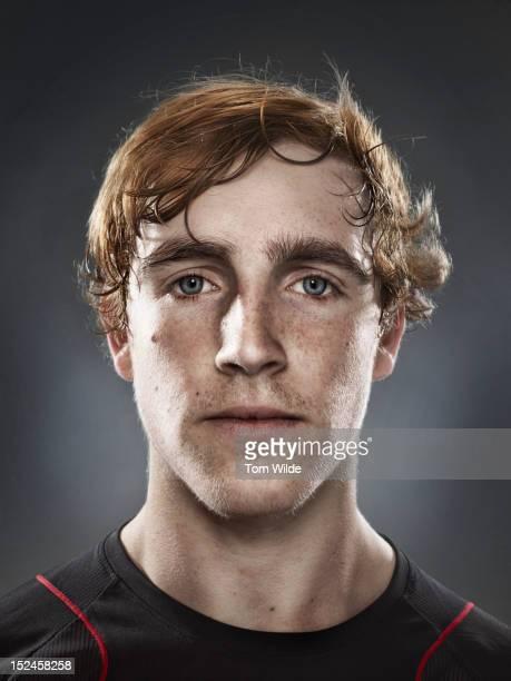 Portrait of a caucasian man with sweaty brow