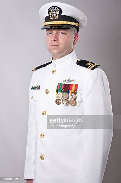 Portrait of  a Caucasian Naval Officer in Dress Whites