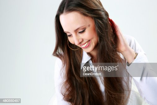 Retrato de um alegre Mulher : Foto de stock
