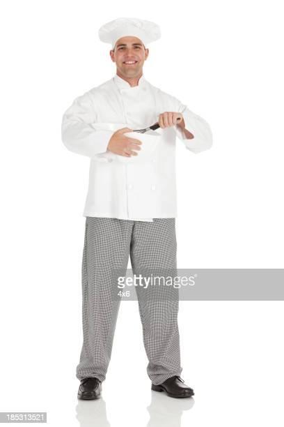 Porträt von chef holding Rührschüssel