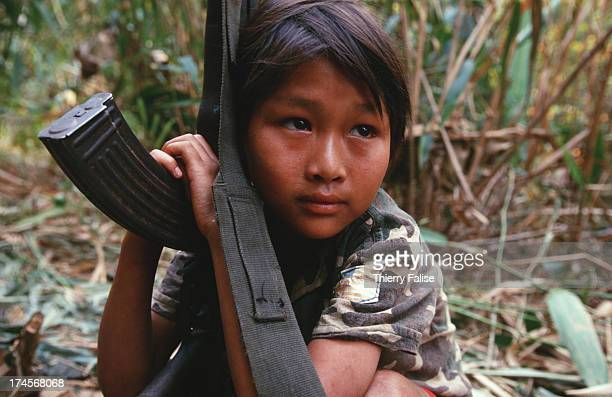 Portrait of a childsoldier in Kamerplaw southern Burma headquarters of God's Army a ragtag breakaway guerrilla faction of the Christian Karen...
