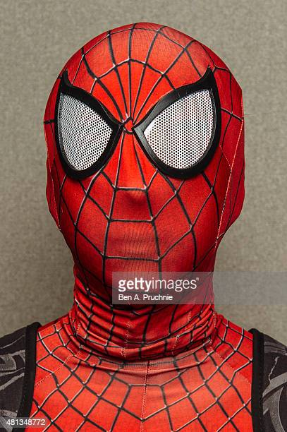 A portrait of a cosplay fan portraying Spiderman visiting the London Film and Comic Con at Olympia Exhibition Centre on July 19 2015 in London England