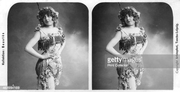 Portrait of a costumed woman early 20th century Stereoscopic slide