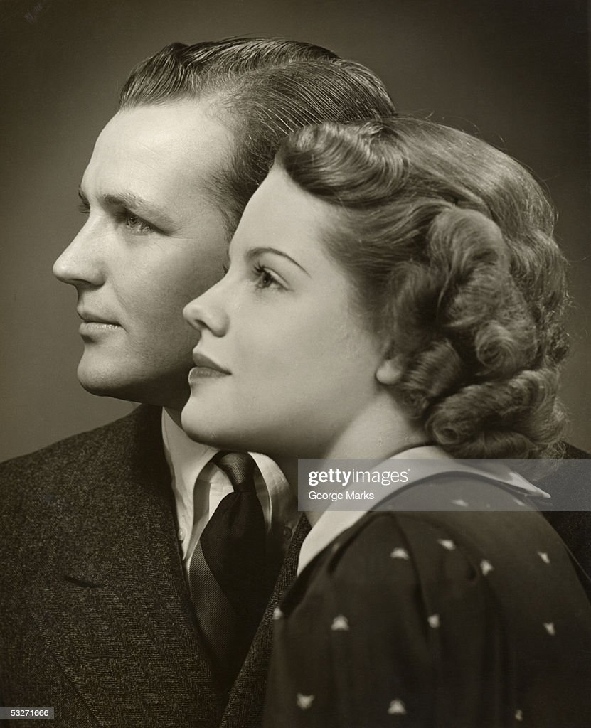 Portrait of a couple in profile : Stock Photo