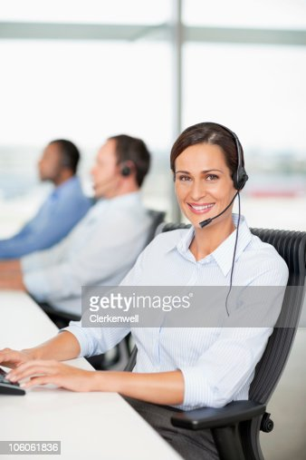 Portrait of a customer service rep wearing headset