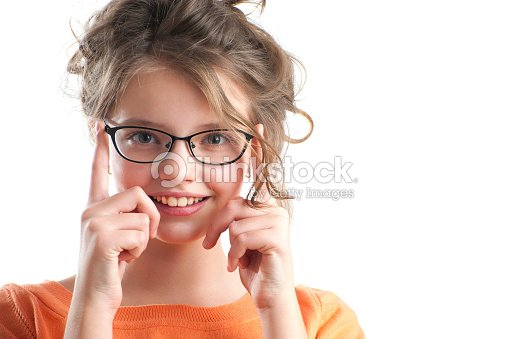 b4a464755800 Portrait of a cute girl in glasses for vision.   Stock Photo