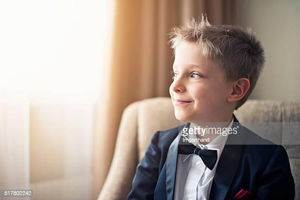 Portrait of a cute little business man