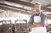 Portrait of a dairy farm worker