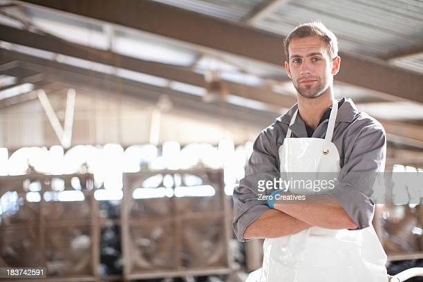 Portrait of a dairy farm worker
