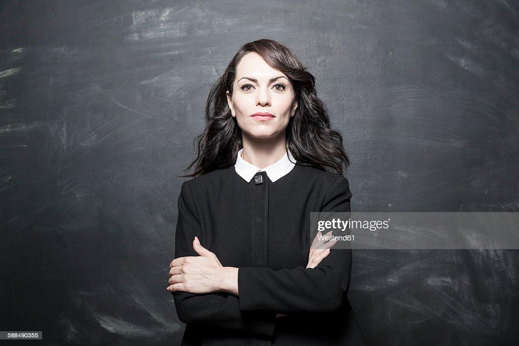 Portrait of a dark haired businesswoman