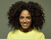 Portrait of a dark skinned female smiling