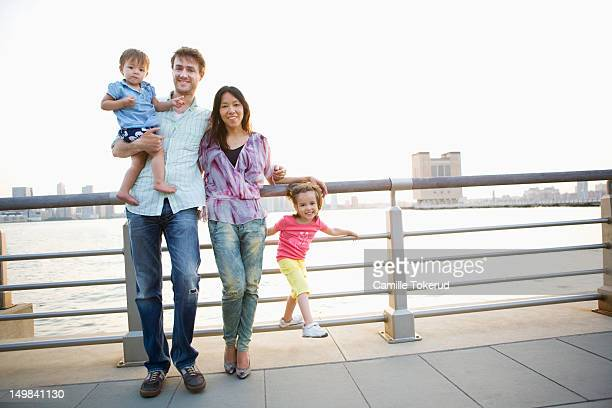 Portrait of a family by the river
