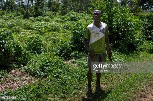 Portrait of a farmer in Kakamega County In his hand he holds a machete on May 16 2017 in Kakamega County Kenya