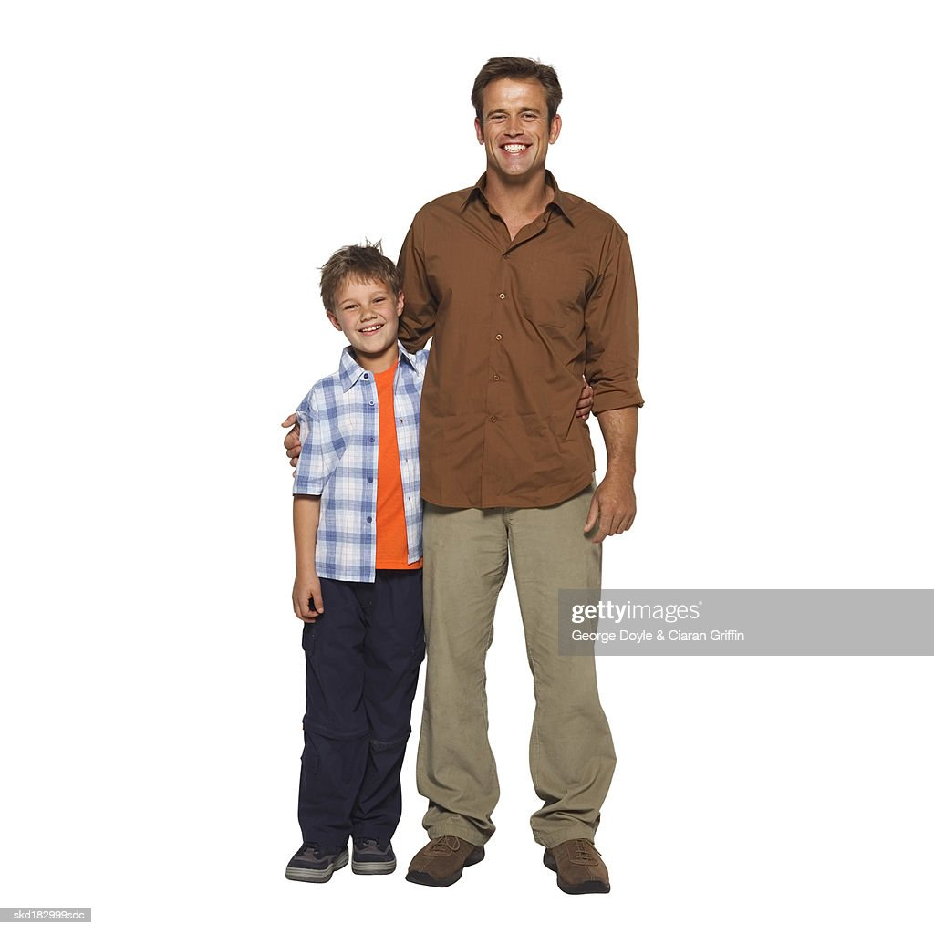 Portrait of a father and son (10-11) : Stock Photo