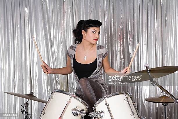 Portrait of a female drummer