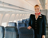 Portrait of a Female Flight Attendant on a Plane