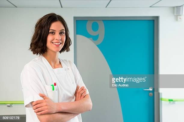 Portrait of a female nurse smiling in hospital