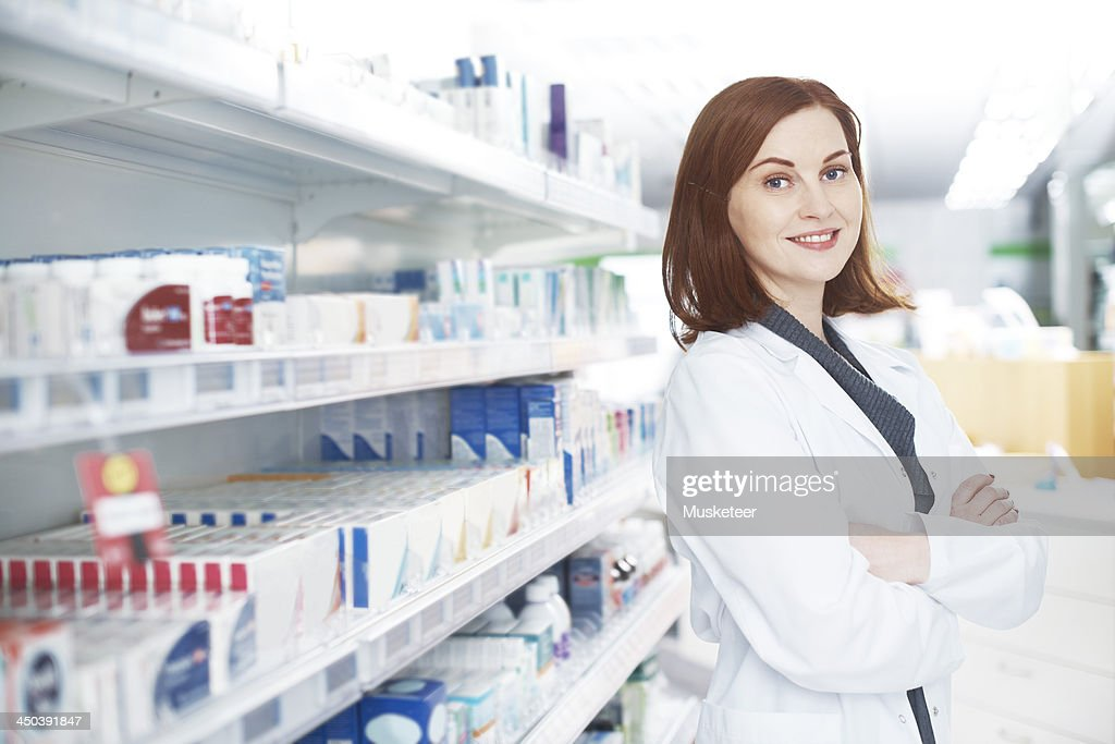 Portrait of a female pharmacist : Stock Photo