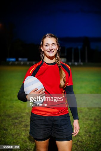 Portrait of a female rugby player