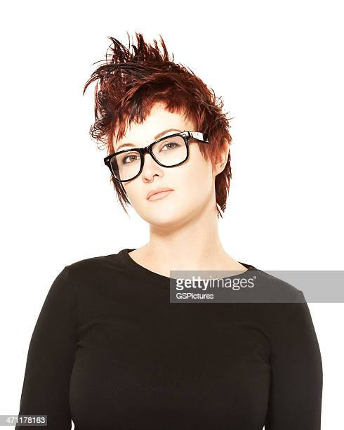 Portrait of a funky hipster wearing big black glasses