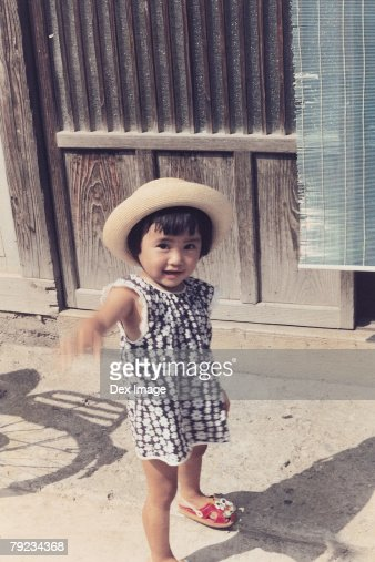Portrait of a girl at passage way : Stock Photo