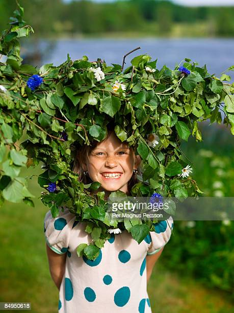 Portrait of a girl celebrating midsummer Sweden.