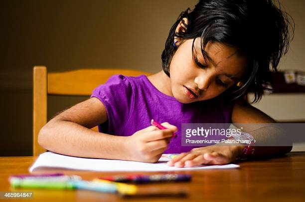 Portrait of a Girl Child Drawing