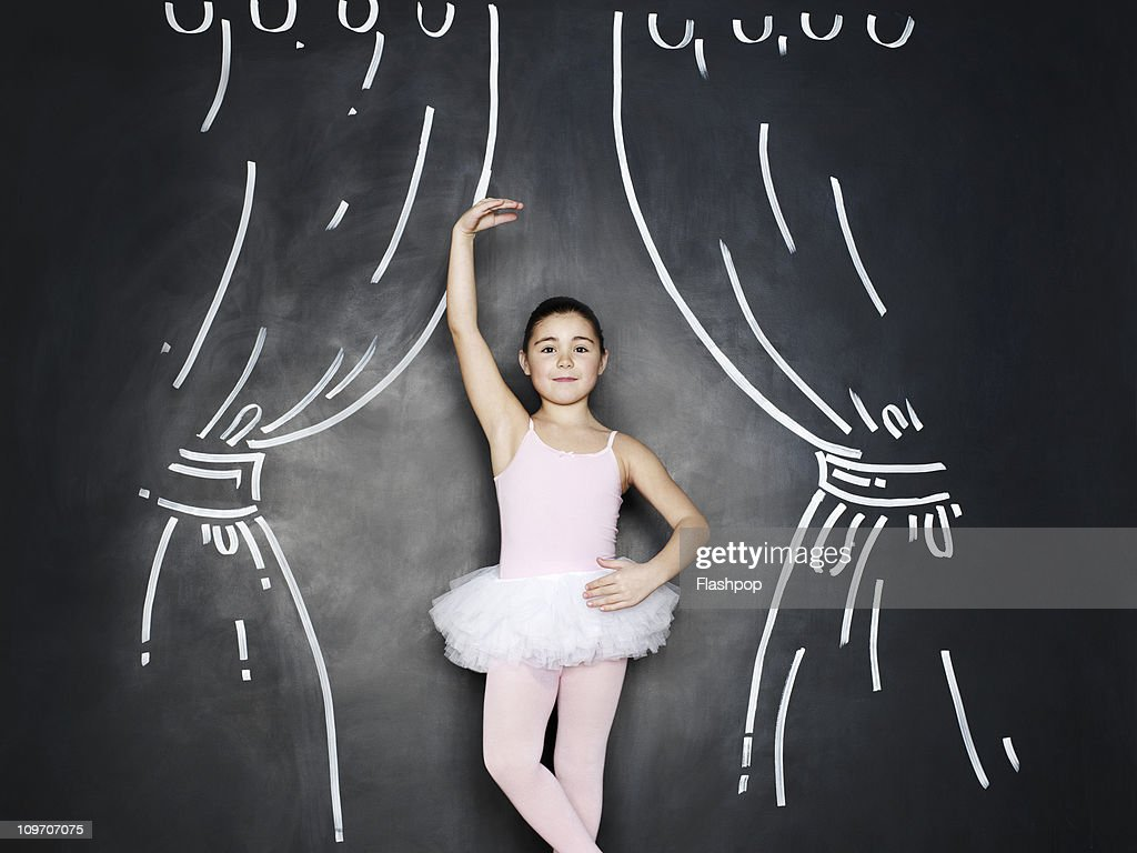 Portrait of a girl dressed as a ballerina : Stock Photo