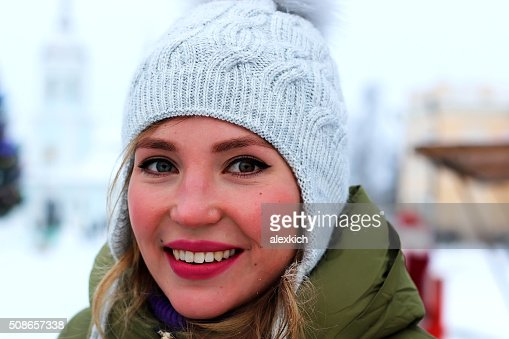 portrait of a girl in the winter : Stock Photo