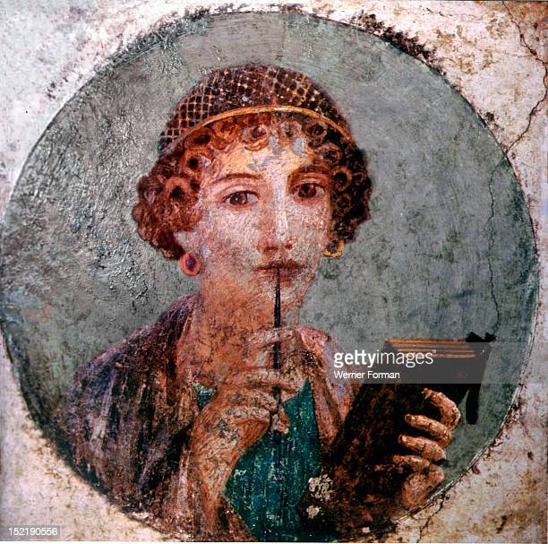 Portrait of a girl previously thought to represent Sappho the ancient Greek poetess with tablets and pen She is also known as Meditation Italy Roman...