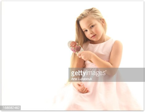 portrait of a girl with a comb : Stock Photo