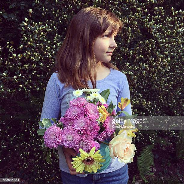 A Portrait of a Girl with Flowers