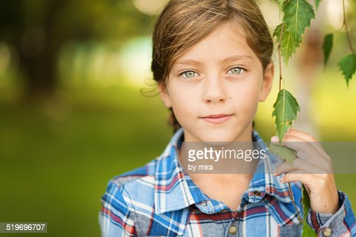 Portrait of a girl with gray eyes