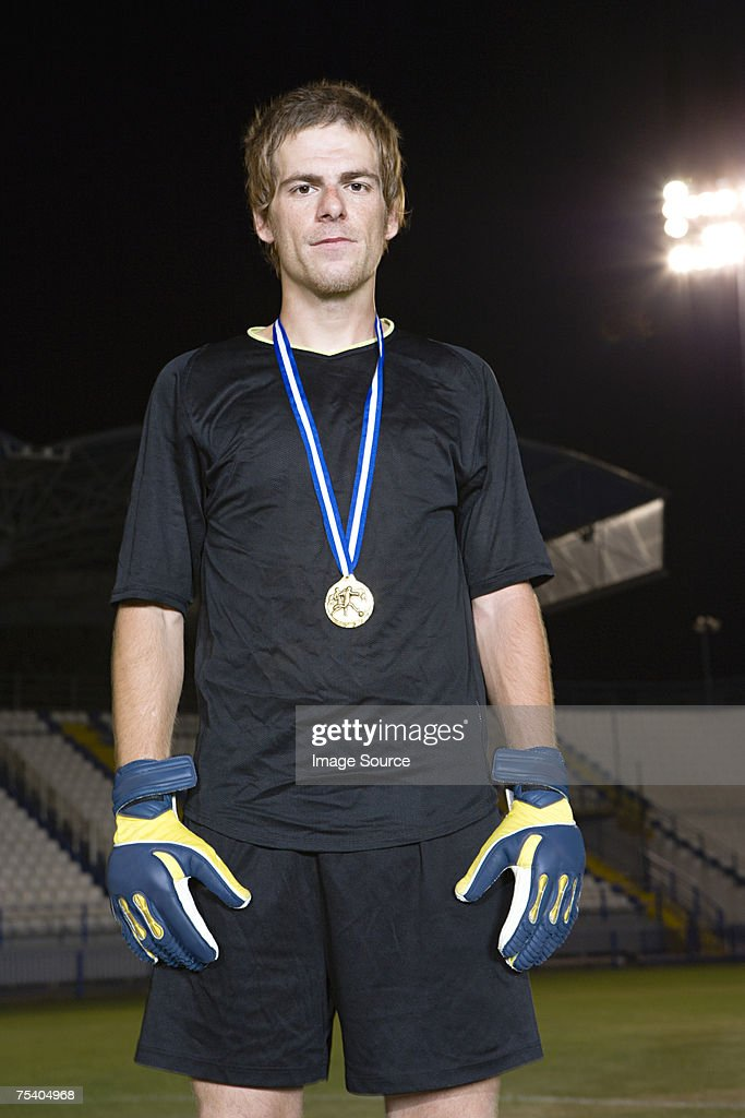 Portrait of a goalkeeper : Stock Photo