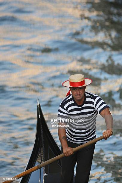 Portrait of a gondolier at work in the canals of Venice during the 65th Venice Film Festival on September 2 2008 in Venice Italy