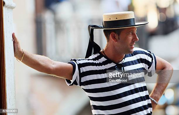 Portrait of a gondolier in the streets of Venice during the 65th Venice Film Festival on September 2 2008 in Venice Italy