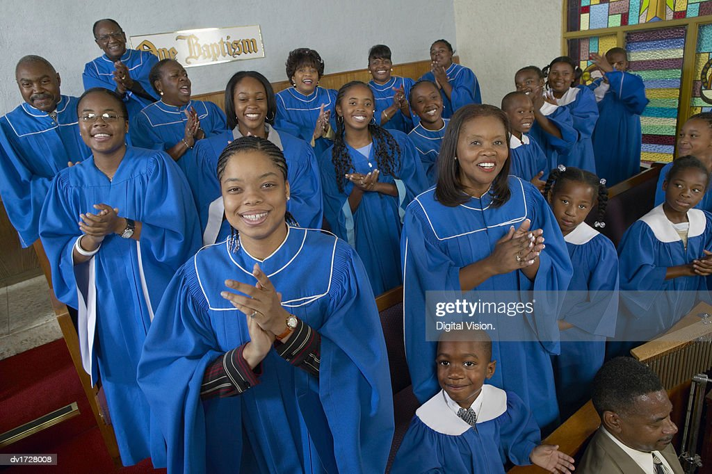 Portrait of a Gospel Choir Clapping Their Hands in a Gospel Service