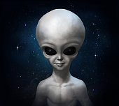 Portrait of a gray alien on the background of the cosmos. 3D illustration