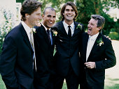 Portrait of a Groom, His Father and the Best Man at a Wedding