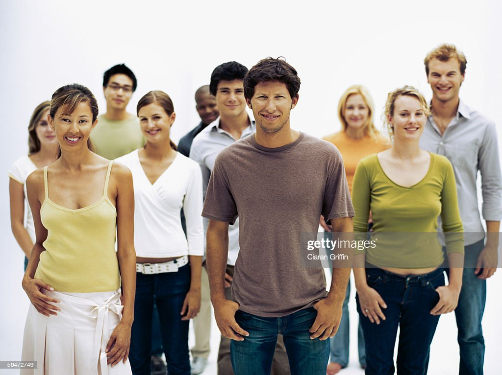 portrait of a group of people standing together : Stock Photo