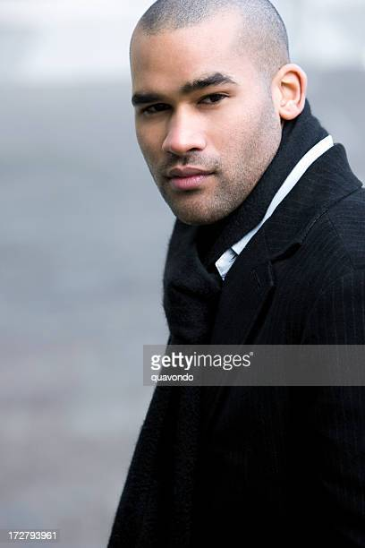 African American Young Man Fashion Model Portrait, Copy Space