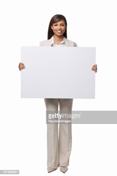 Portrait of a happy businesswoman holding white blank card